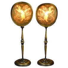 Wonderful Pair of Art Deco Pearline Nude Mantle Lamps