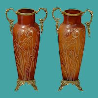 Pair of Gorgeous European Floral Glass Vases