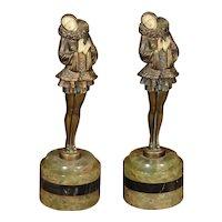 Pair Art Deco Gerdago Pixie Figurines by JB Hirsch on Marble