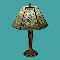 Stunning Art Deco Lamp w/ Pearline Cellulose Shade