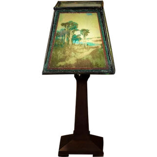 Arts & Crafts Cypress Tree Boudoir Lamp w/ Beaded Cellulose Shade