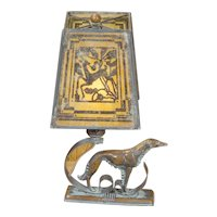 Art Deco Wolfhound/ Borsoi Lamp w/ Mica Gazelle Shade