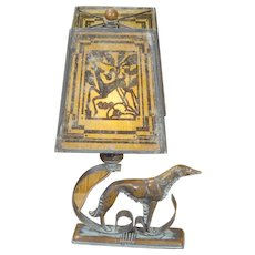 Art Deco Wolfhound/ Borsoi Lamp w/ Mica Gazelle Shade