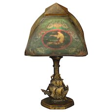 Sailing Ship Lamp w/ Mermaid Shade