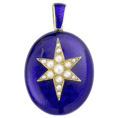 An Early Victorian Blue Enamel And Pearl Locket