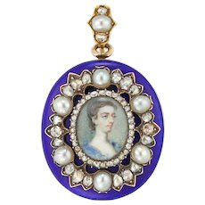 An Early Victorian Blue Enamel, Pearl And Diamond Locket