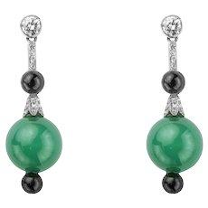A Pair Of Art Deco Chrysoprase, Onyx & Diamond Earrings