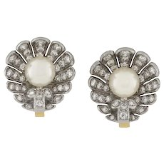 A Pair Of Diamond And Pearl Shell Earrings