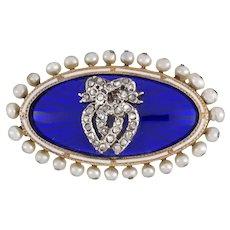 A Victorian Enamel, Pearl And Diamond Brooch