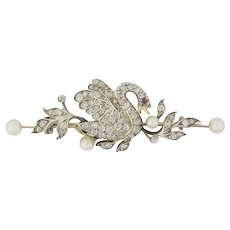 A Late Victorian Diamond And Pearl Brooch