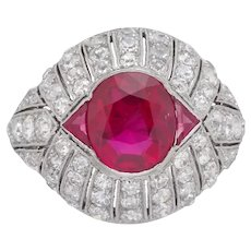 An Art Deco Mogok Burma Ruby And Diamond Ring