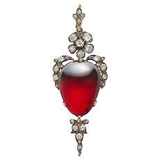 A Victorian Garnet And Diamond Flower Pendant