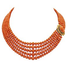 A Victorian Five-row Coral Necklace