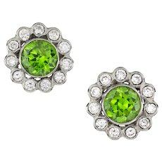A Pair Of Demantoid Garnet And Diamond Earrings