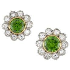 A Pair Of Demantoid Garnet And Diamond Cluster Earrings