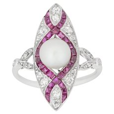 An Edwardian Marquise Diamond Pearl And Ruby Ring