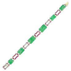 An Art Deco Jade Plaque Bracelet