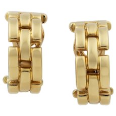 A Pair Of Cartier Maillon Panthere Yellow Gold Hoop Earrings