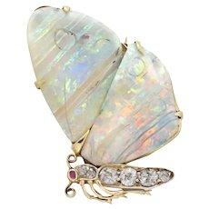 A Victorian Opal And Diamond Butterfly Brooch