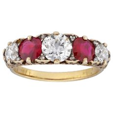 A Fine Victorian Five Stone Ruby And Diamond Ring
