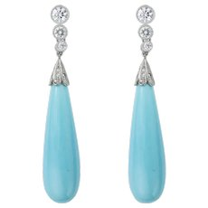 A Pair Of Turquoise And Diamond Drop Earrings