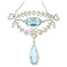 A Late Victorian Aquamarine And Diamond Brooch/pendant