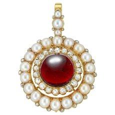 A Victorian Garnet, Half Pearl And Diamond Brooch/pendant