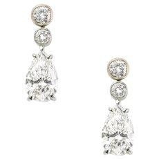A Pair Of Pear Shaped Diamond Drop Earrings