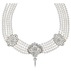 A Fine Early Victorian  Diamond And Cultured Pearl Necklace