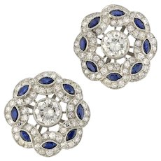A Pair Of Diamond And Sapphire Cluster Earrings