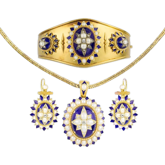 A Mid-Victorian Half Pearl, Diamond And Blue Enamel Suite