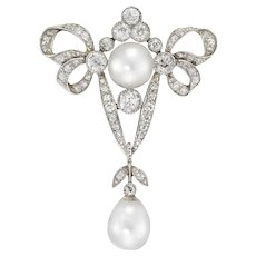 A Late Victorian Pearl And Diamond Bow Brooch
