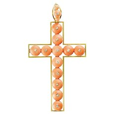 A Mid-Victorian Coral Bead And Diamond Cross