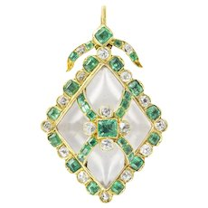 A Victorian Emerald, Diamond And Crystal Pendant