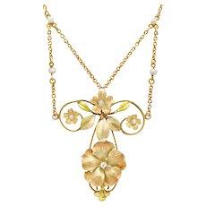 An Art Nouveau Enamel Floral Necklace