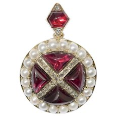 A Victorian Garnet, Pearl And Diamond Brooch/pendant