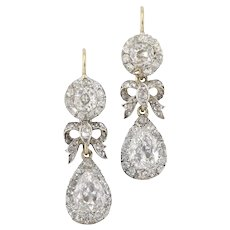 A Pair Of Early Victorian Diamond Drop Earrings