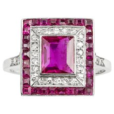 An Art Deco Ruby And Diamond Double Cluster Ring