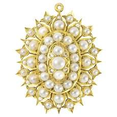 A Victorian Natural Half Pearl And Diamond Brooch-pendant