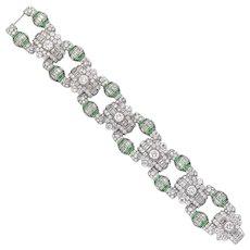 An Art Deco Emerald And Diamond Panel Bracelet