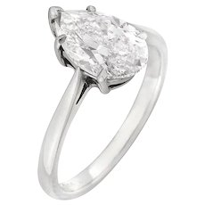 A Single Stone Pear-shaped Solitaire Diamond Ring