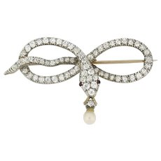 A Victorian Diamond-set Snake Brooch
