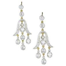 A Pair Of Tulip-shape Diamond Drop Earrings