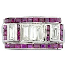 An Art Deco Ruby And Diamond Dress Ring
