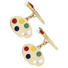 A Pair Of Gold And Enamel Cufflinks