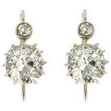 An Antique Pair Of Old-cut Diamond Drop Earrings