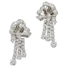 A Pair Mid 20th Century Diamond-set Bow And Tassel Earrings
