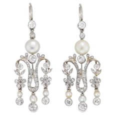 A Pair Of Late Victorian Pearl And Diamond Drop Earrings