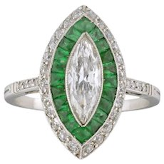 An Emerald And Diamond Double Cluster Ring