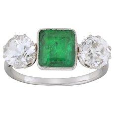 A Mid 20th Century Emerald And Diamond Three-stone Ring